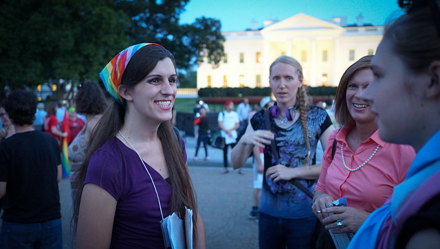 """Delegate-elect Danica Roem protesting President Trump's """"trans military ban"""" in front of the White House in July 2017."""