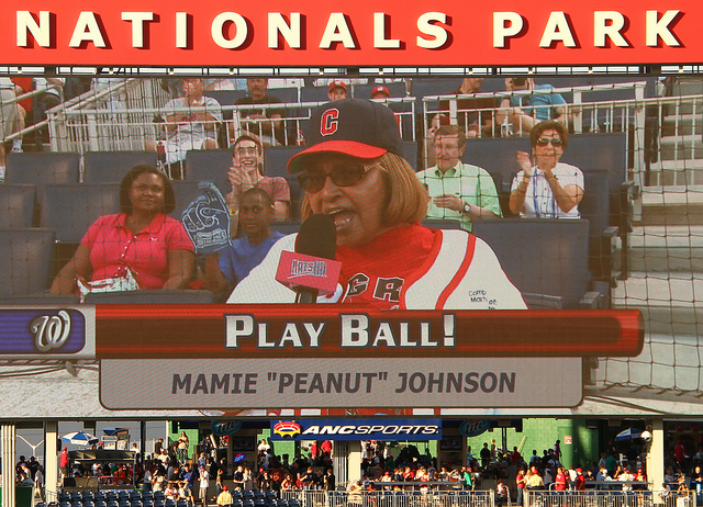 "Mamie ""Peanut"" Johnson was one of three women, and the first female pitcher, to play in the Negro Leagues. Pictured here on June 05, 2008, Johnson and other living players from the Negro League Era were drafted by major league franchises prior to the 2008 MLB First Year Draft. Johnson was selected by the Washington Nationals."