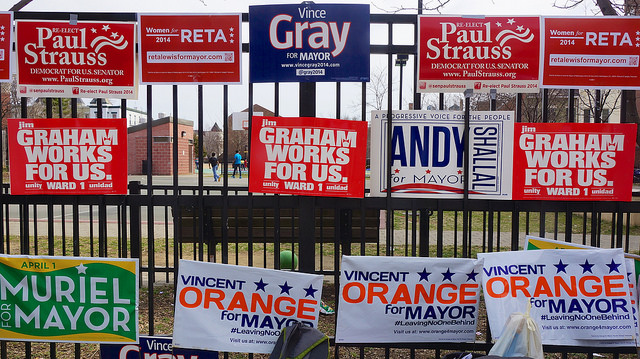 Signs for D.C. mayoral candidates in 2014.