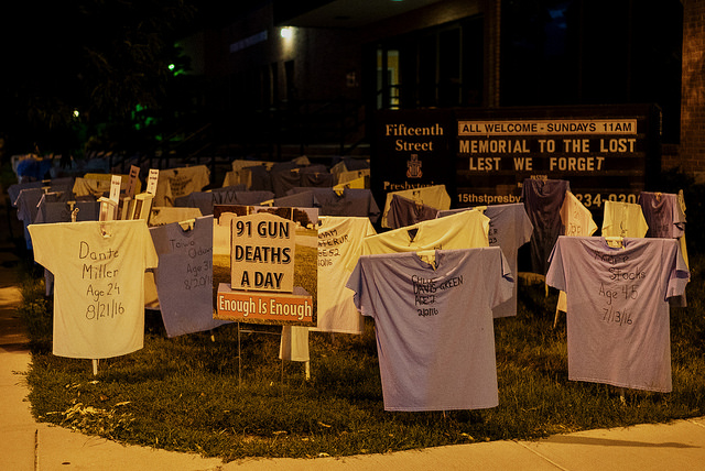 Annual t-shirt display highlighting gun violence at Fifteenth Street Presbyterian Church, Washington, D.C.