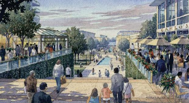 An artist's rendering of plans for a revitalized downtown Columbia, Md.