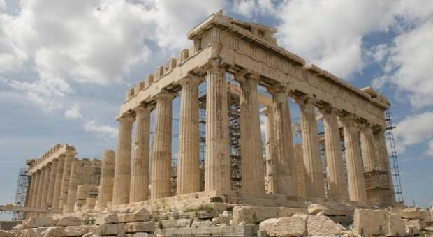 """The Parthenon's facade in Athens, Greece, exemplifies the """"golden ratio"""" principle in architecture. It occurs when a square is subtracted from a golden rectangle to reveal another golden rectangle, continuing ad infinitum."""