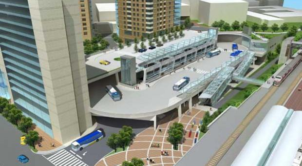 Artist's rendering of the Northwest side of the Paul S. Sarbanes Silver Spring Transit Center.