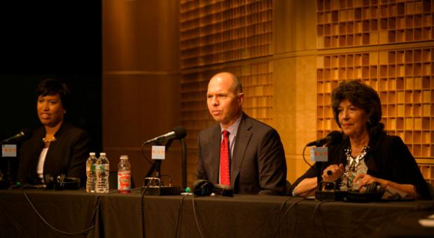 The leading candidates for D.C. mayor debate at a forum Oct. 2, 2014, at NPR in Washington, D.C. From left, Muriel Bowser, David Catania and Carol Schwartz.
