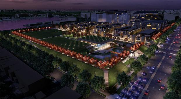 A rendering of what McMillan Park could look like, post-development, at night.