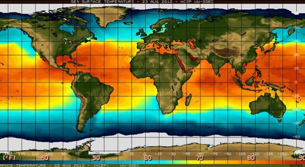 Sea surface temperature in the equatorial Pacific Ocean.