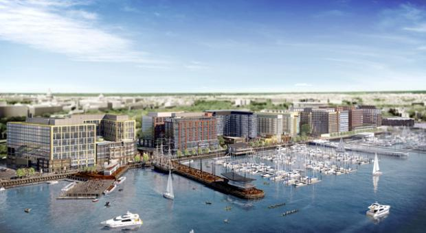 A rendering of The Wharf, a mile-long stretch along the Southwest Waterfront.